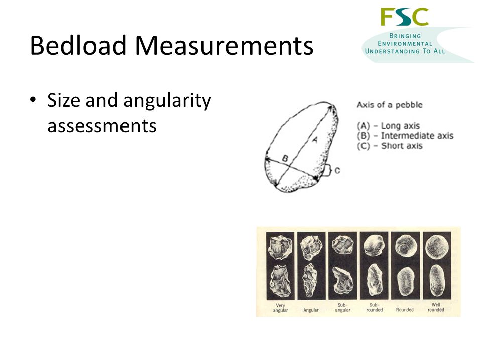 Bedload Measurements Size and angularity assessments