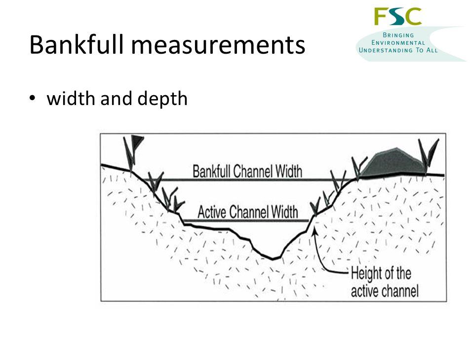 Bankfull measurements width and depth
