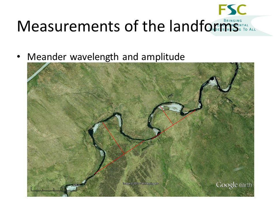 Measurements of the landforms Meander wavelength and amplitude