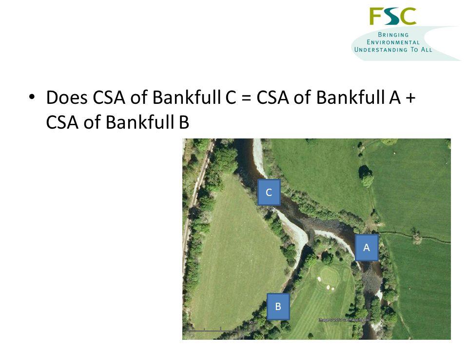 Does CSA of Bankfull C = CSA of Bankfull A + CSA of Bankfull B C B A