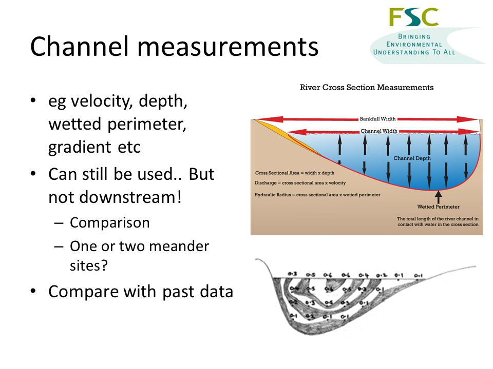 Channel measurements eg velocity, depth, wetted perimeter, gradient etc Can still be used..