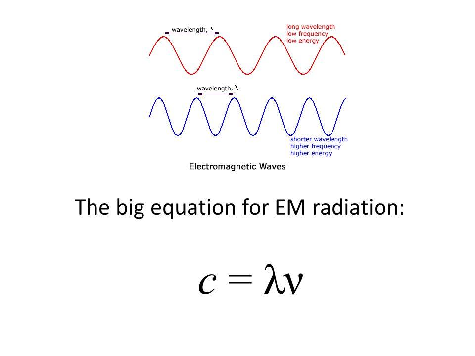 The big equation for EM radiation: c = λν