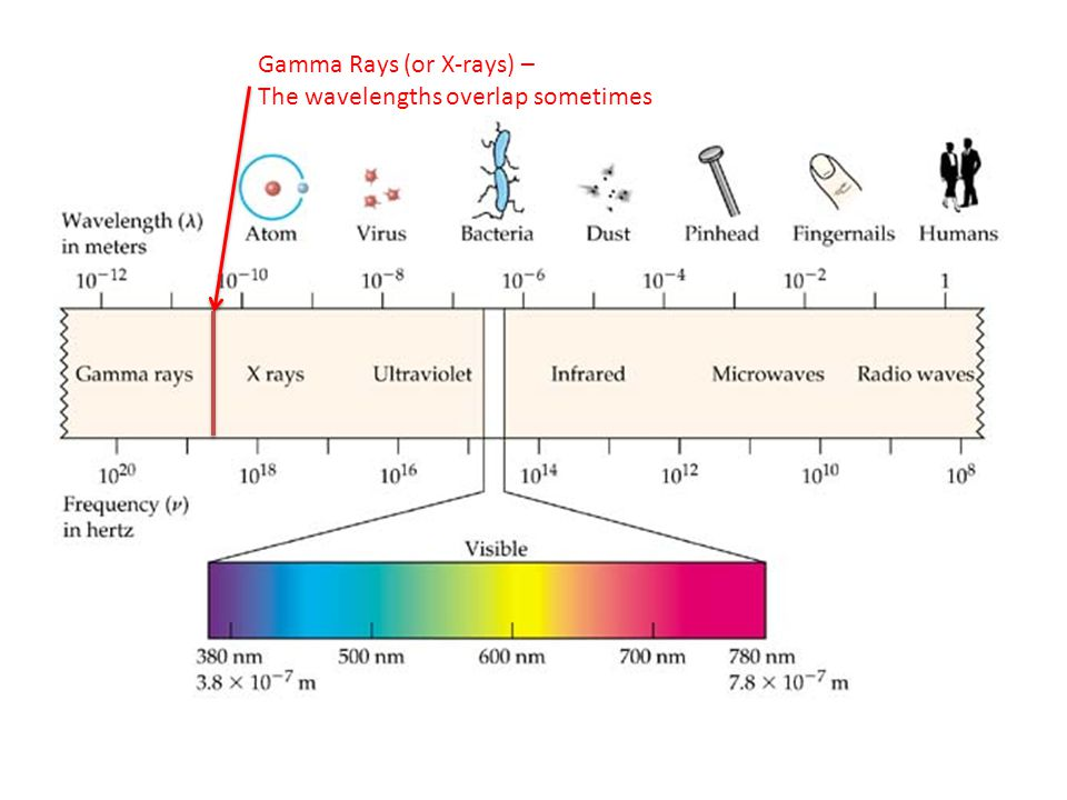 Gamma Rays (or X-rays) – The wavelengths overlap sometimes