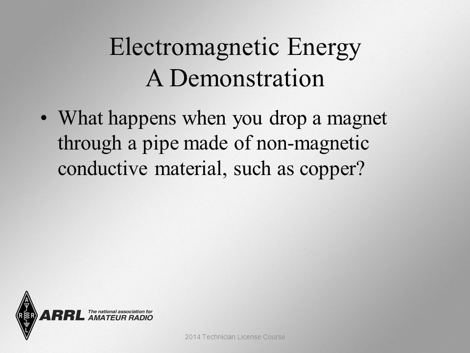Electromagnetic Energy A Demonstration What happens when you drop a magnet through a pipe made of non-magnetic conductive material, such as copper.