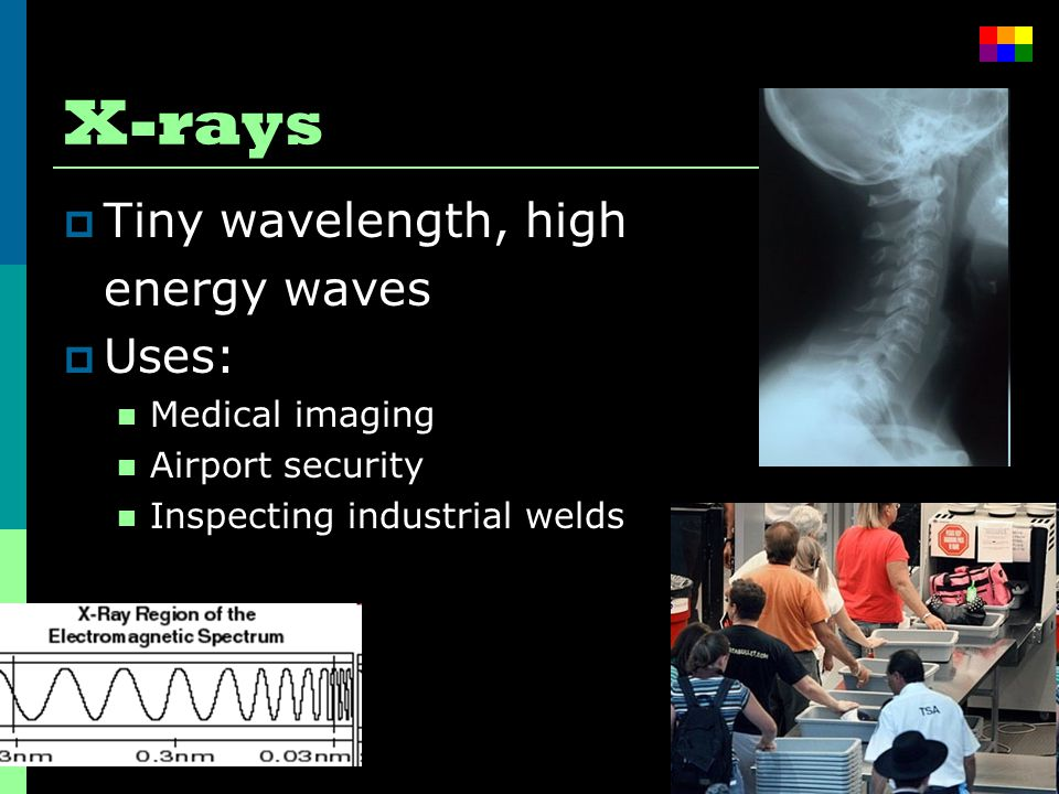 X-rays  Tiny wavelength, high energy waves  Uses: Medical imaging Airport security Inspecting industrial welds