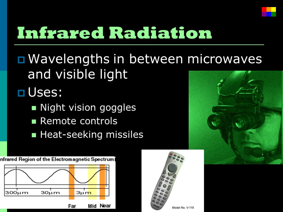 Infrared Radiation  Wavelengths in between microwaves and visible light  Uses: Night vision goggles Remote controls Heat-seeking missiles