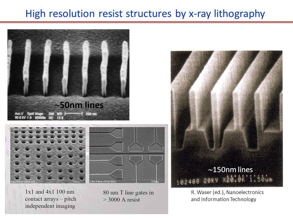 High resolution resist structures by x-ray lithography  50nm lines R. Waser (ed.), Nanoelectronics and Information Technology  150nm lines