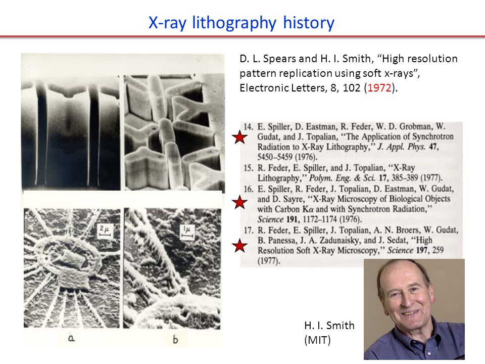"""X-ray lithography history D. L. Spears and H. I. Smith, """"High resolution pattern replication using soft x-rays"""", Electronic Letters, 8, 102 (1972). H."""