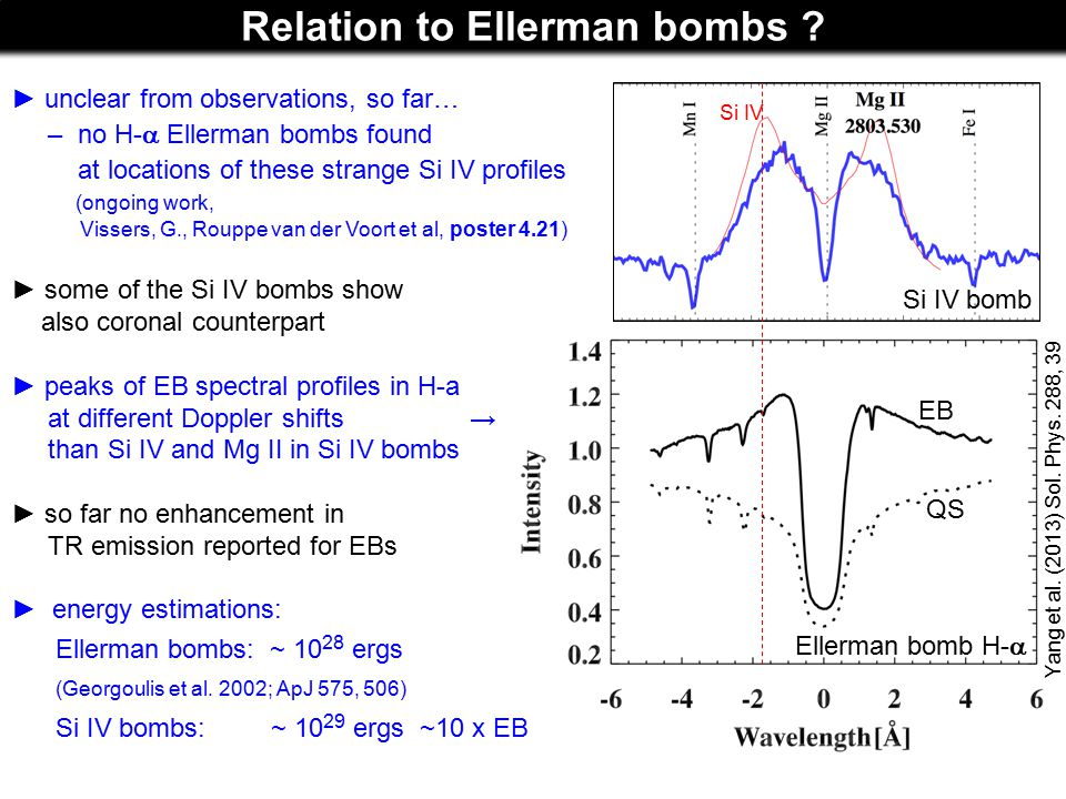 Relation to Ellerman bombs ? Ellerman bomb H-  ► unclear from observations, so far… – no H-  Ellerman bombs found at locations of these strange Si I