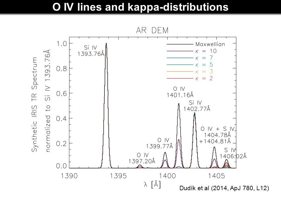 O IV lines and kappa-distributions Dudík et al (2014, ApJ 780, L12)