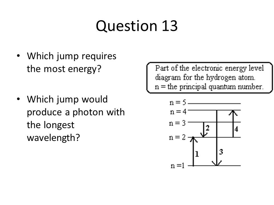 Question 13 Which jump requires the most energy.