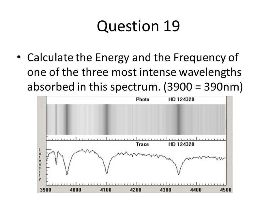 Question 19 Calculate the Energy and the Frequency of one of the three most intense wavelengths absorbed in this spectrum. (3900 = 390nm)