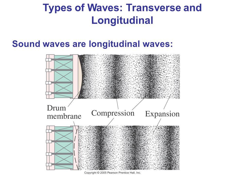 Types of Waves: Transverse and Longitudinal Sound waves are longitudinal waves: