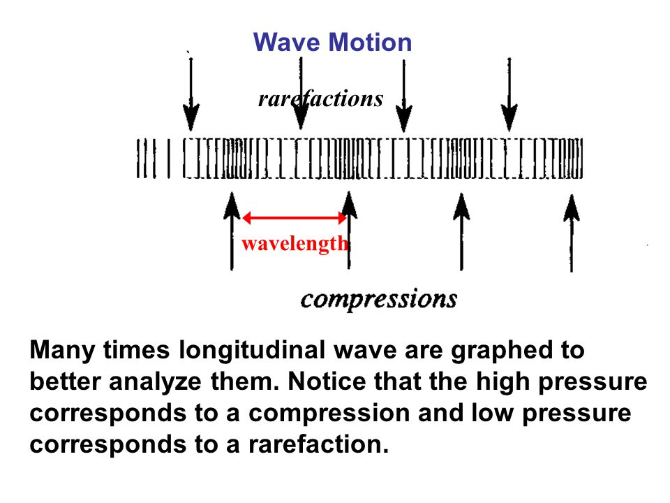 wavelength Wave Motion rarefactions Many times longitudinal wave are graphed to better analyze them. Notice that the high pressure corresponds to a co
