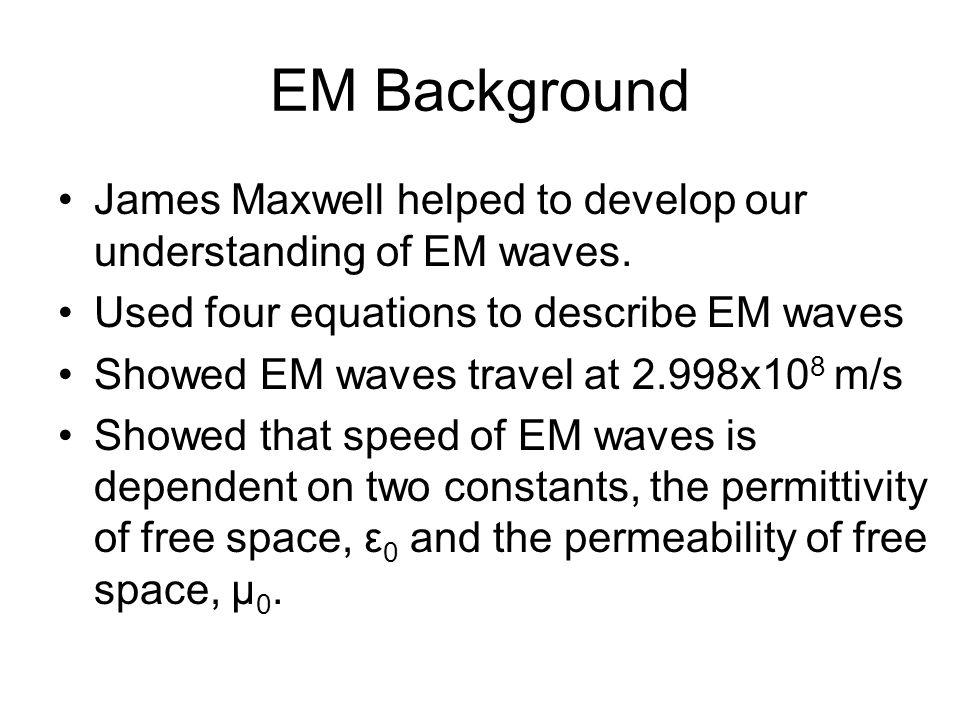 EM Background James Maxwell helped to develop our understanding of EM waves. Used four equations to describe EM waves Showed EM waves travel at 2.998x