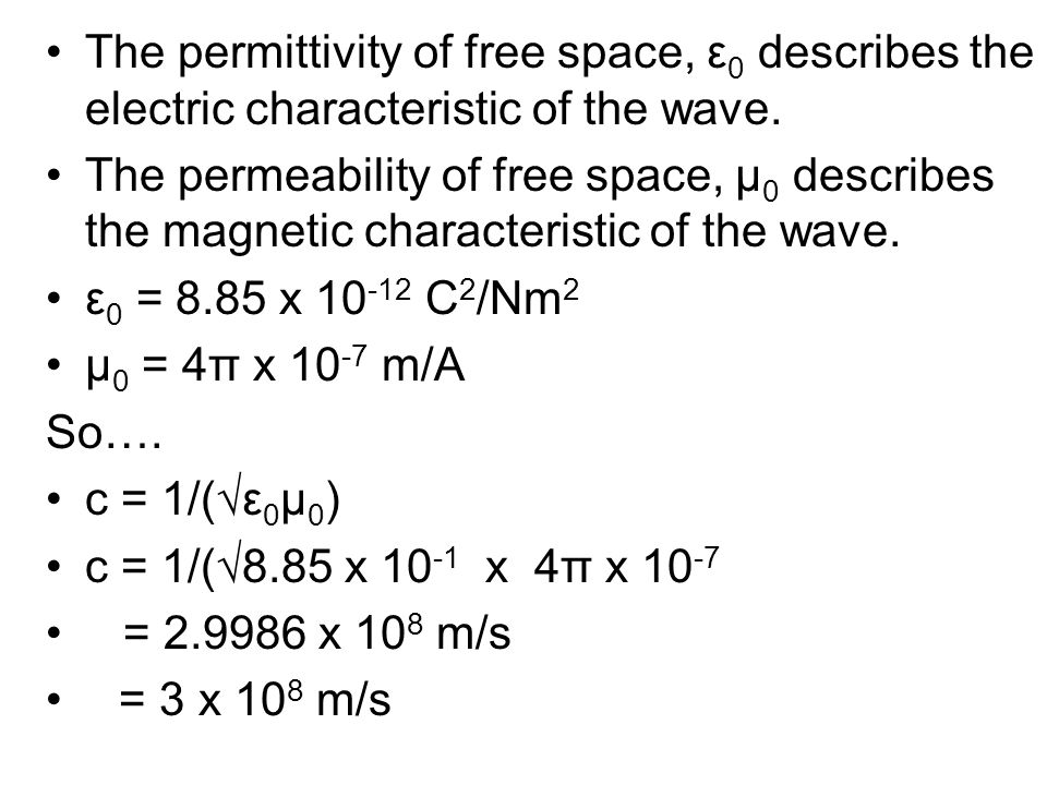 The permittivity of free space, ε 0 describes the electric characteristic of the wave. The permeability of free space, µ 0 describes the magnetic char