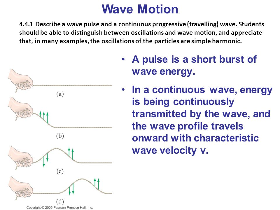 Wave Motion 4.4.1 Describe a wave pulse and a continuous progressive (travelling) wave. Students should be able to distinguish between oscillations an