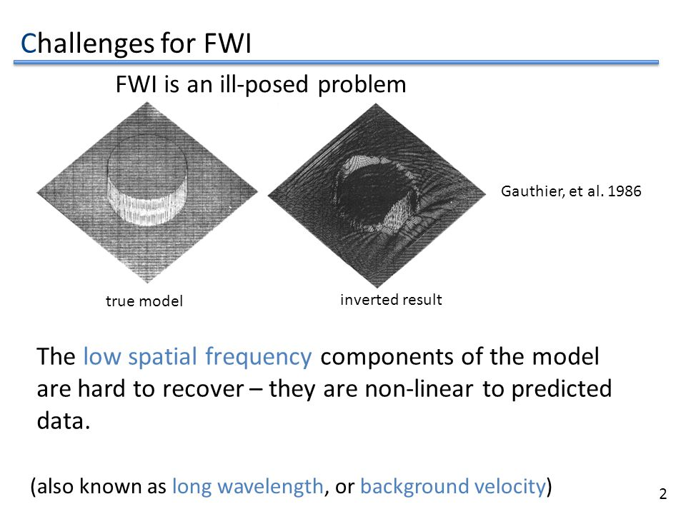 3 true model inverted result Gauthier, et al. 1986 The low spatial frequency components of the model are hard to recover – they are non-linear to pred