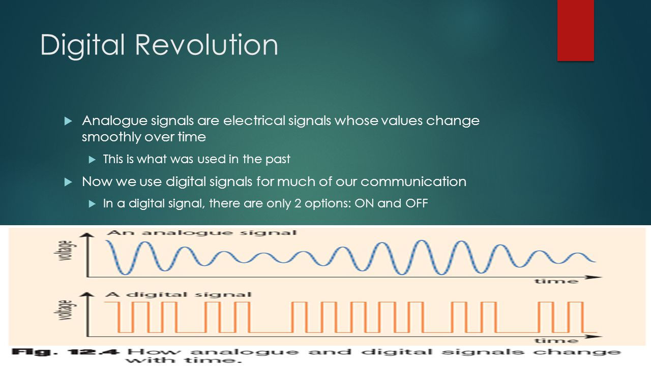 Digital Revolution  Analogue signals are electrical signals whose values change smoothly over time  This is what was used in the past  Now we use d
