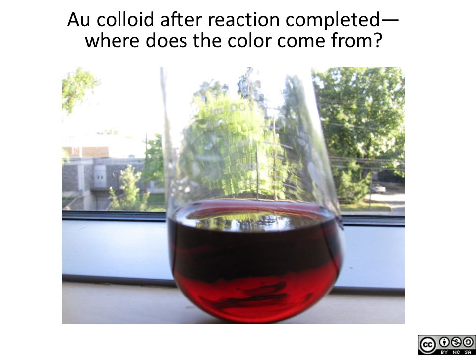 Au colloid after reaction completed— where does the color come from?