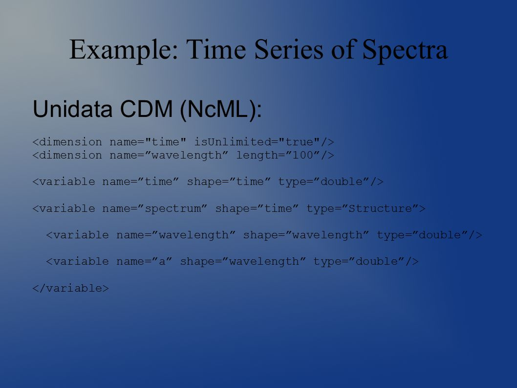 Example: Time Series of Spectra Unidata CDM (NcML):