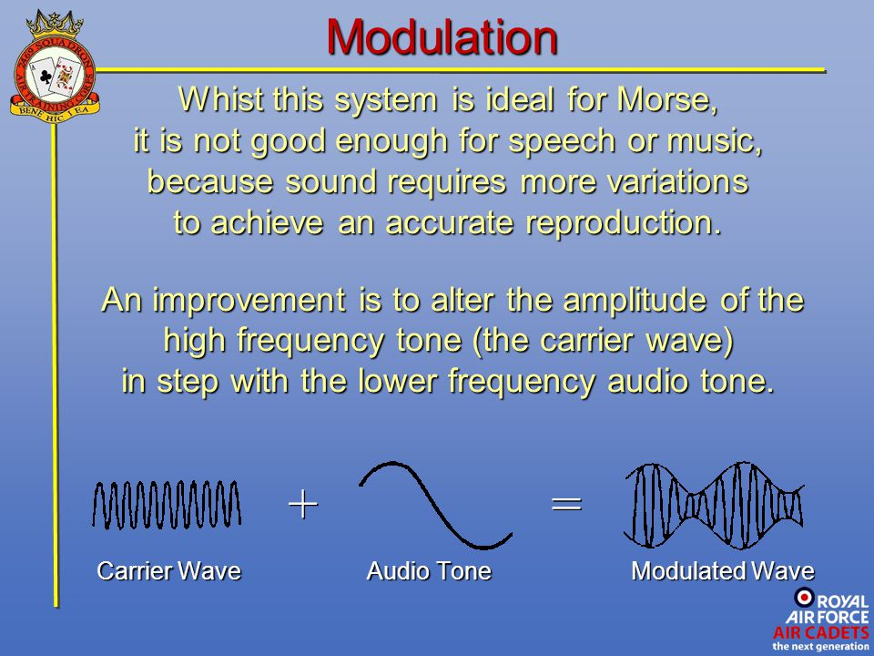 Modulation Whist this system is ideal for Morse, it is not good enough for speech or music, because sound requires more variations to achieve an accur