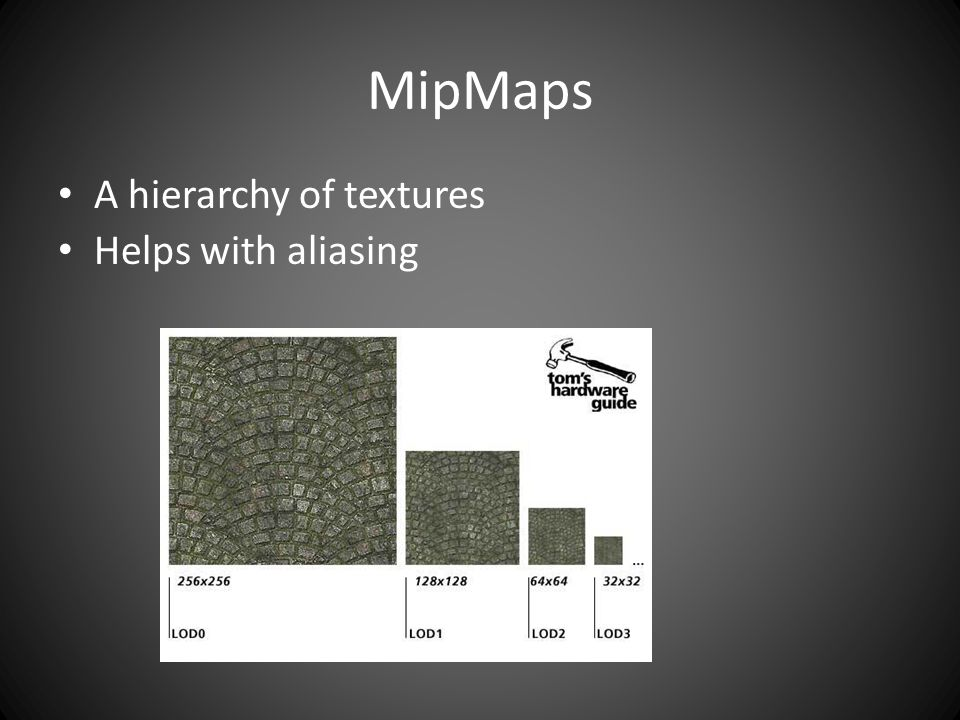MipMaps A hierarchy of textures Helps with aliasing