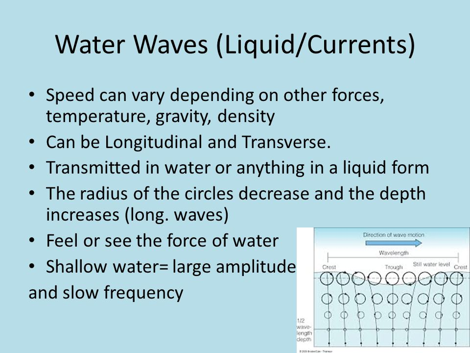 Water Waves (Liquid/Currents) Speed can vary depending on other forces, temperature, gravity, density Can be Longitudinal and Transverse. Transmitted