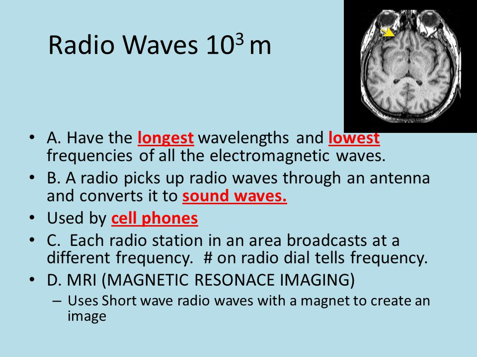 Radio Waves 10 3 m A. Have the longest wavelengths and lowest frequencies of all the electromagnetic waves. B. A radio picks up radio waves through an