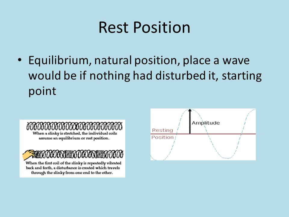 Rest Position Equilibrium, natural position, place a wave would be if nothing had disturbed it, starting point