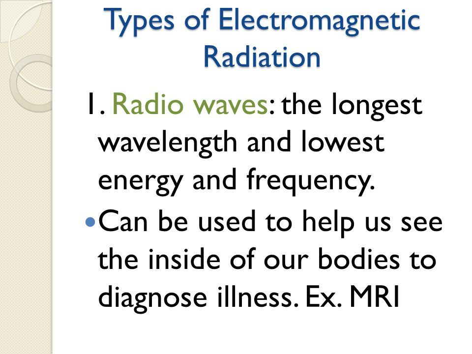 Types of Electromagnetic Radiation 1.