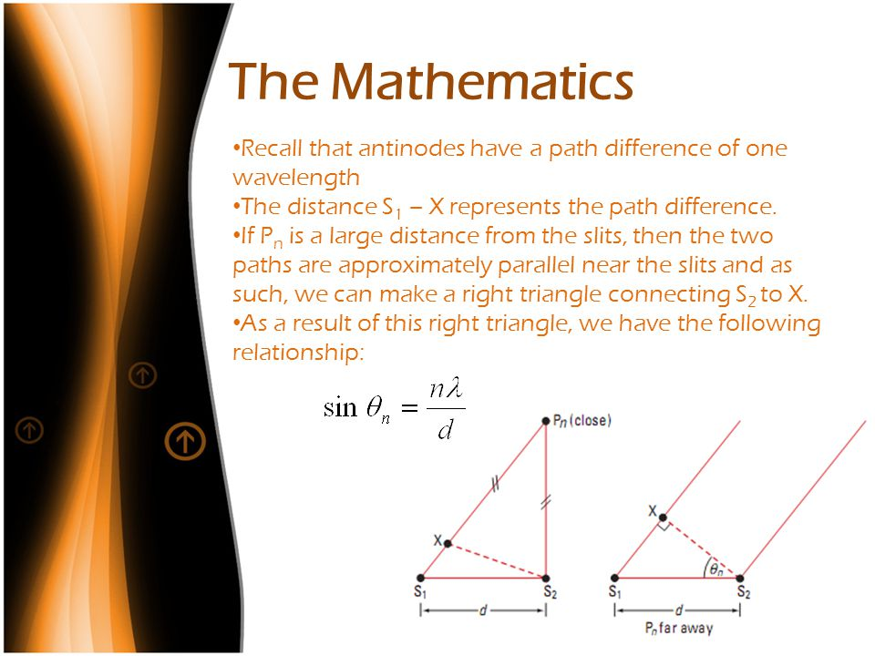 The Mathematics Recall that antinodes have a path difference of one wavelength The distance S 1 – X represents the path difference. If P n is a large