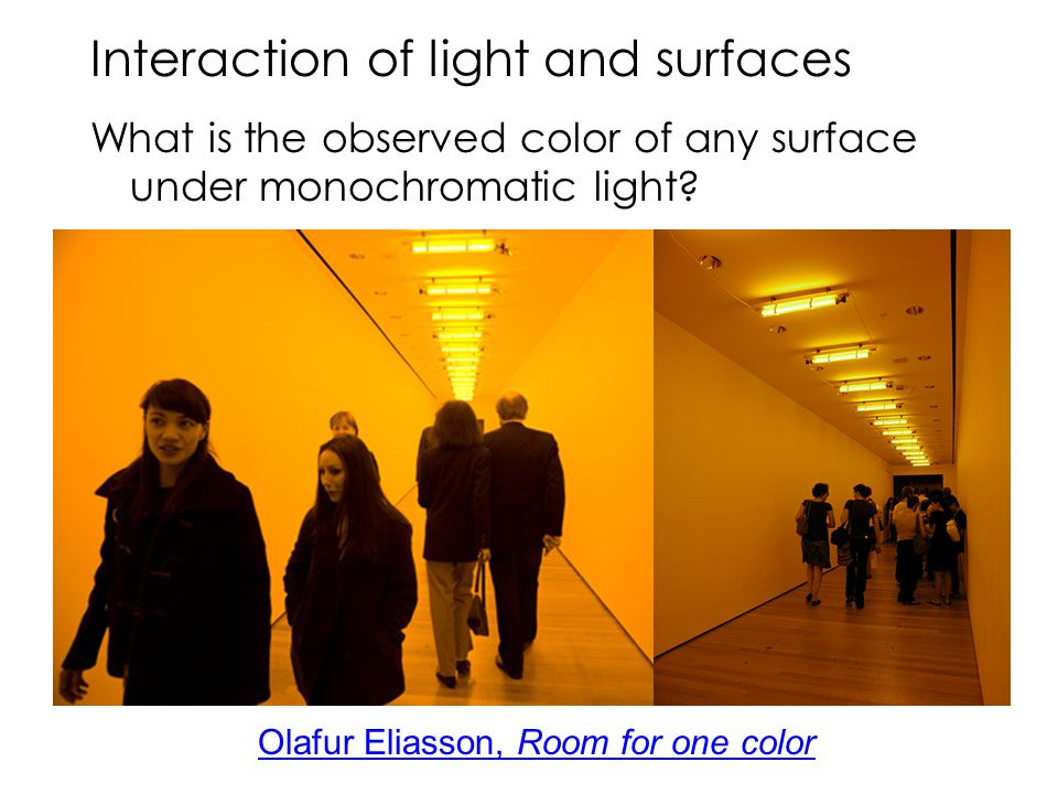 Interaction of light and surfaces What is the observed color of any surface under monochromatic light? Olafur Eliasson, Room for one color