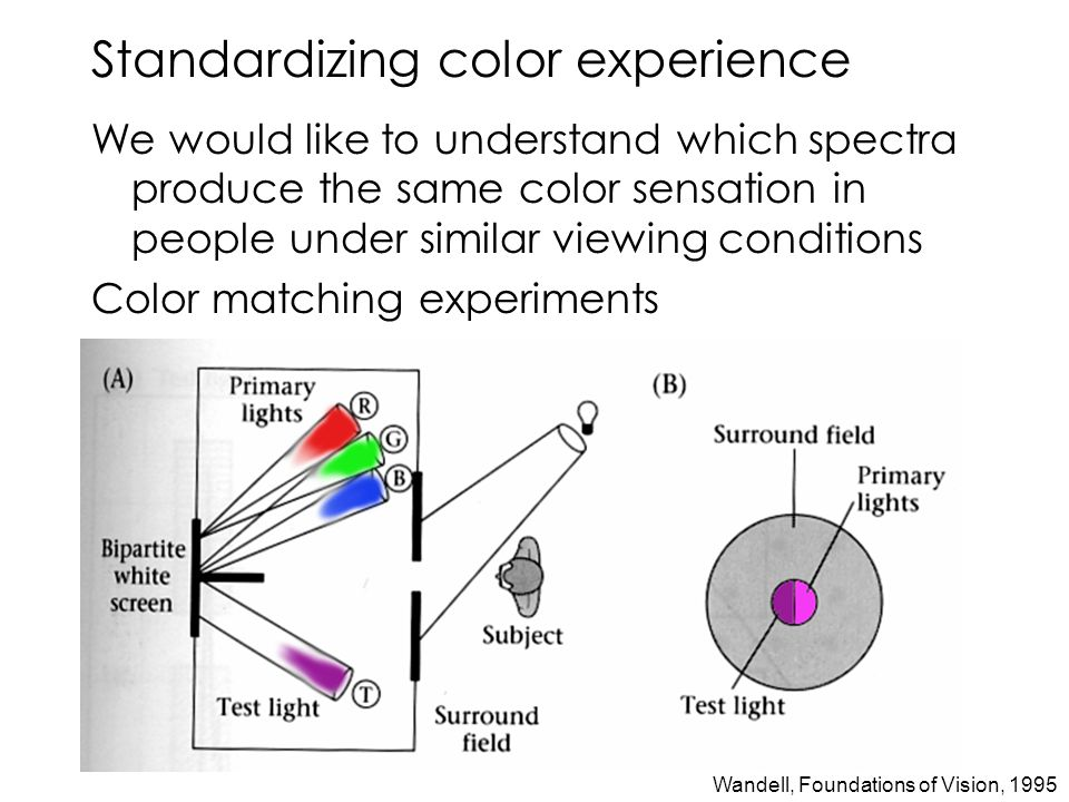 Standardizing color experience We would like to understand which spectra produce the same color sensation in people under similar viewing conditions Color matching experiments Wandell, Foundations of Vision, 1995