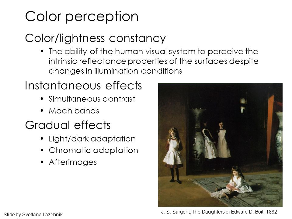 Color perception Color/lightness constancy The ability of the human visual system to perceive the intrinsic reflectance properties of the surfaces des
