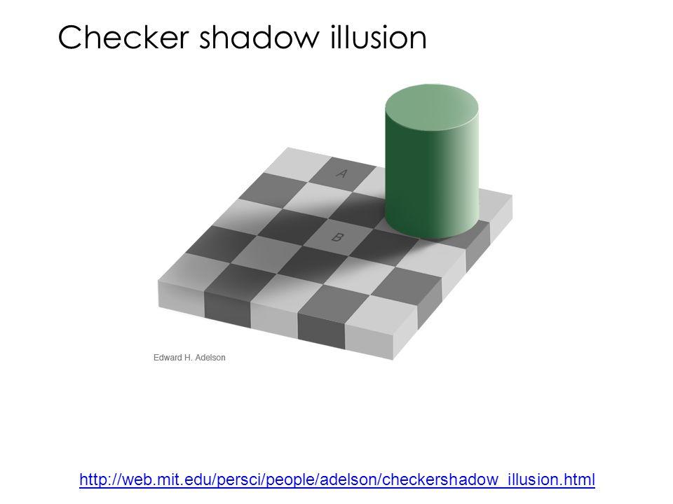 Checker shadow illusion http://web.mit.edu/persci/people/adelson/checkershadow_illusion.html