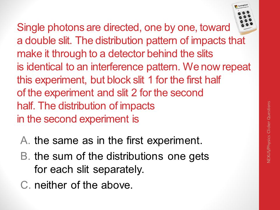 Single photons are directed, one by one, toward a double slit.
