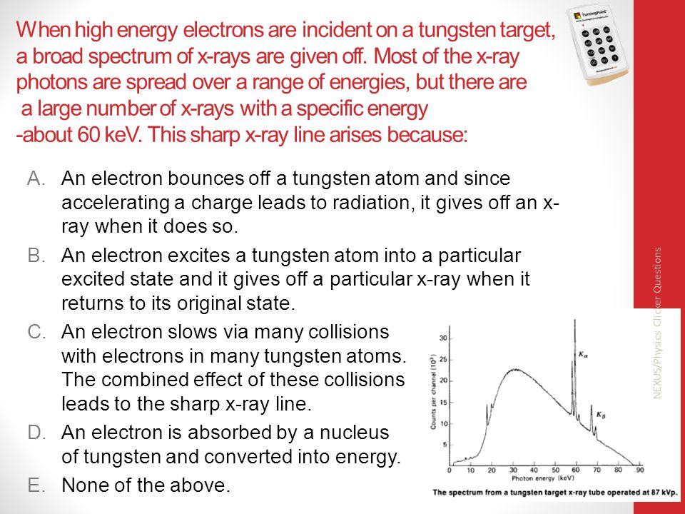 When high energy electrons are incident on a tungsten target, a broad spectrum of x-rays are given off.