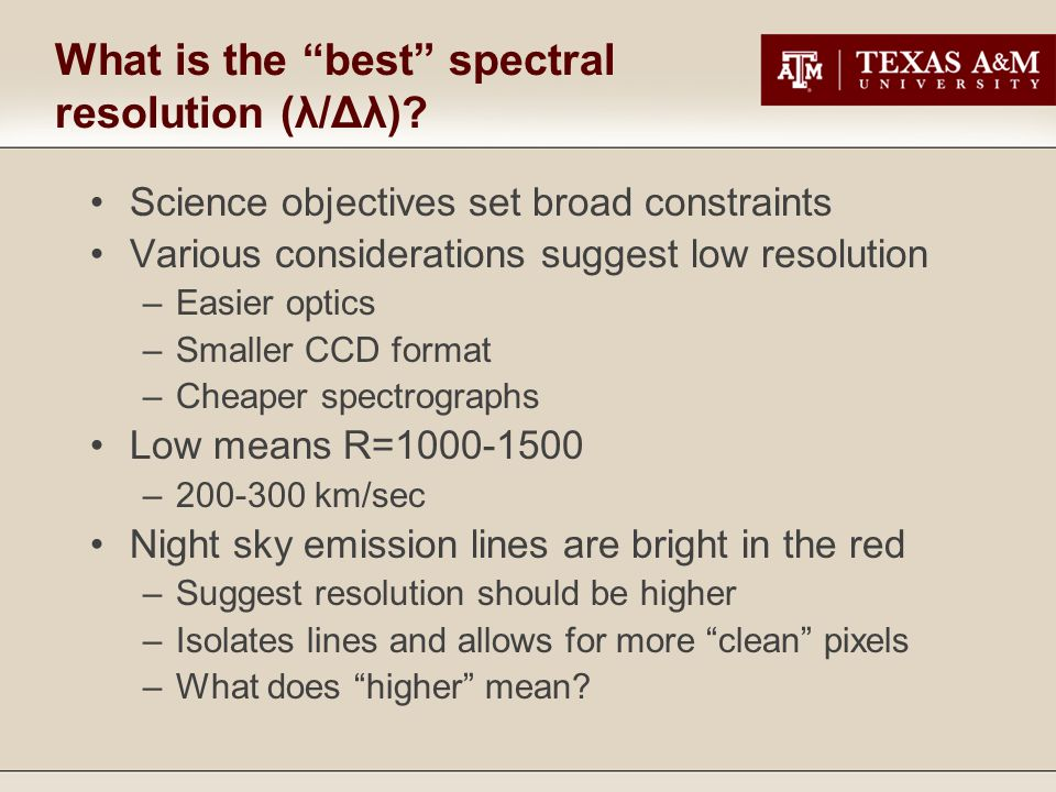 What is the best spectral resolution (λ/Δλ).
