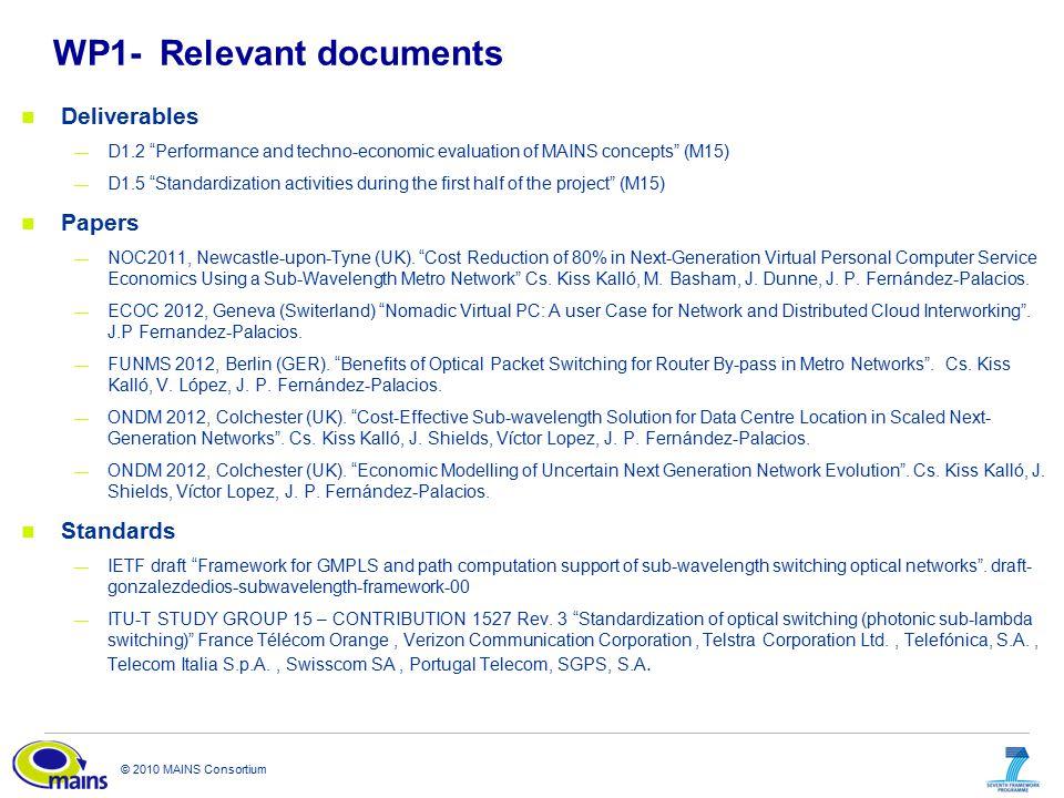 "© 2010 MAINS Consortium WP1-Relevant documents Deliverables — D1.2 ""Performance and techno-economic evaluation of MAINS concepts"" (M15) — D1.5 ""Standa"