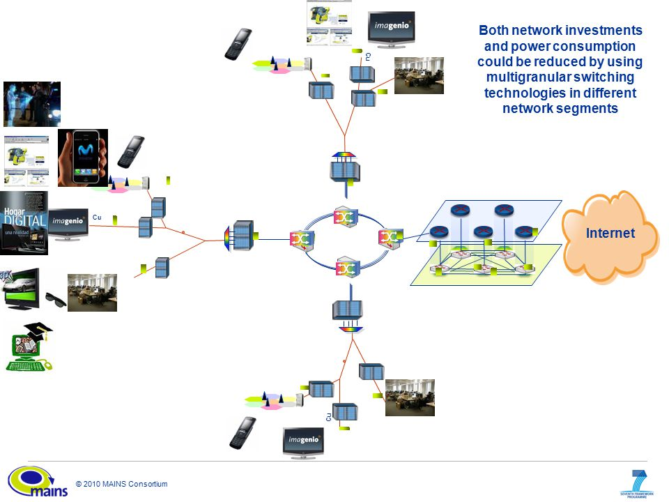 © 2010 MAINS Consortium Cu Internet Both network investments and power consumption could be reduced by using multigranular switching technologies in different network segments