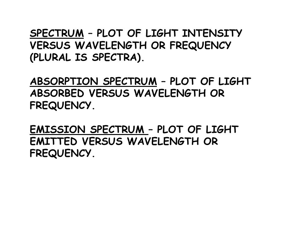 SPECTRUM – PLOT OF LIGHT INTENSITY VERSUS WAVELENGTH OR FREQUENCY (PLURAL IS SPECTRA). ABSORPTION SPECTRUM – PLOT OF LIGHT ABSORBED VERSUS WAVELENGTH