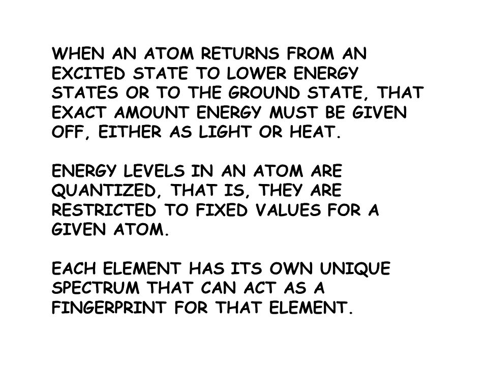 WHEN AN ATOM RETURNS FROM AN EXCITED STATE TO LOWER ENERGY STATES OR TO THE GROUND STATE, THAT EXACT AMOUNT ENERGY MUST BE GIVEN OFF, EITHER AS LIGHT OR HEAT.