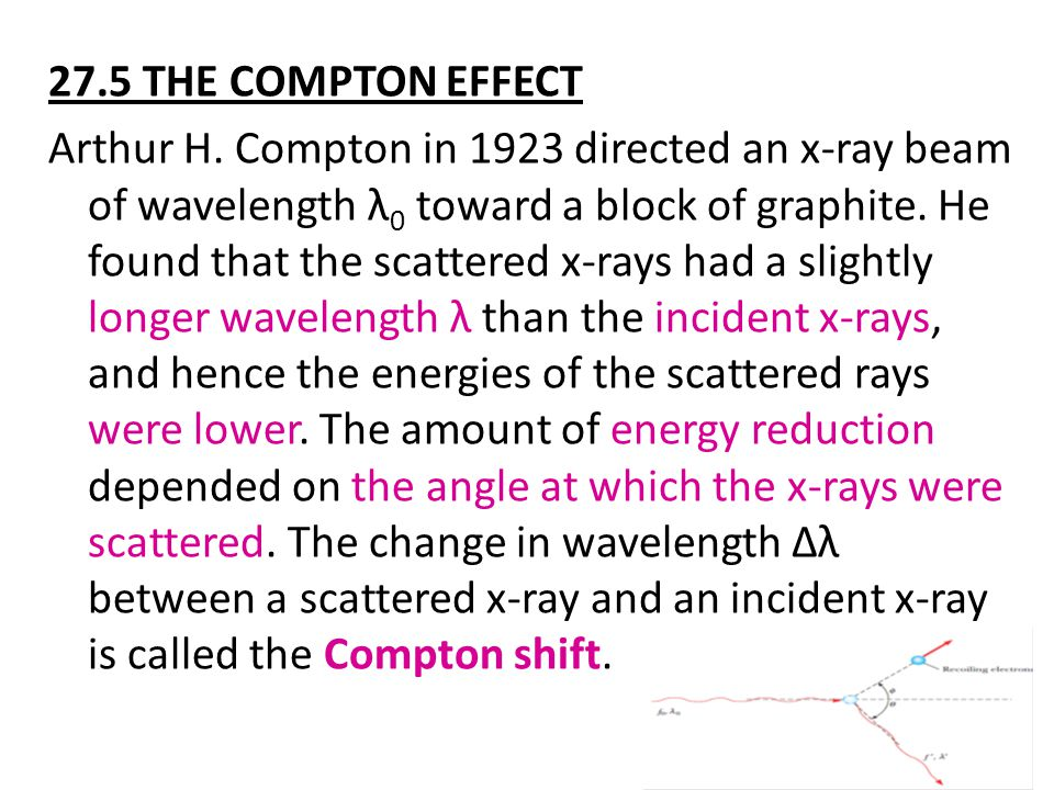 27.5 THE COMPTON EFFECT Arthur H. Compton in 1923 directed an x-ray beam of wavelength λ 0 toward a block of graphite. He found that the scattered x-r