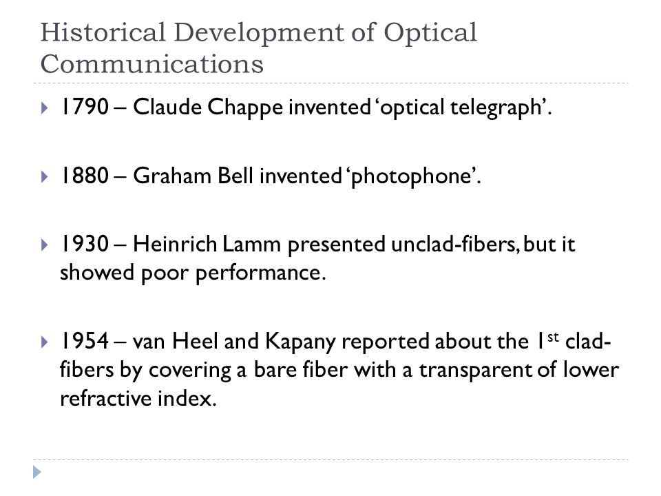 Historical Development of Optical Communications  1790 – Claude Chappe invented 'optical telegraph'.