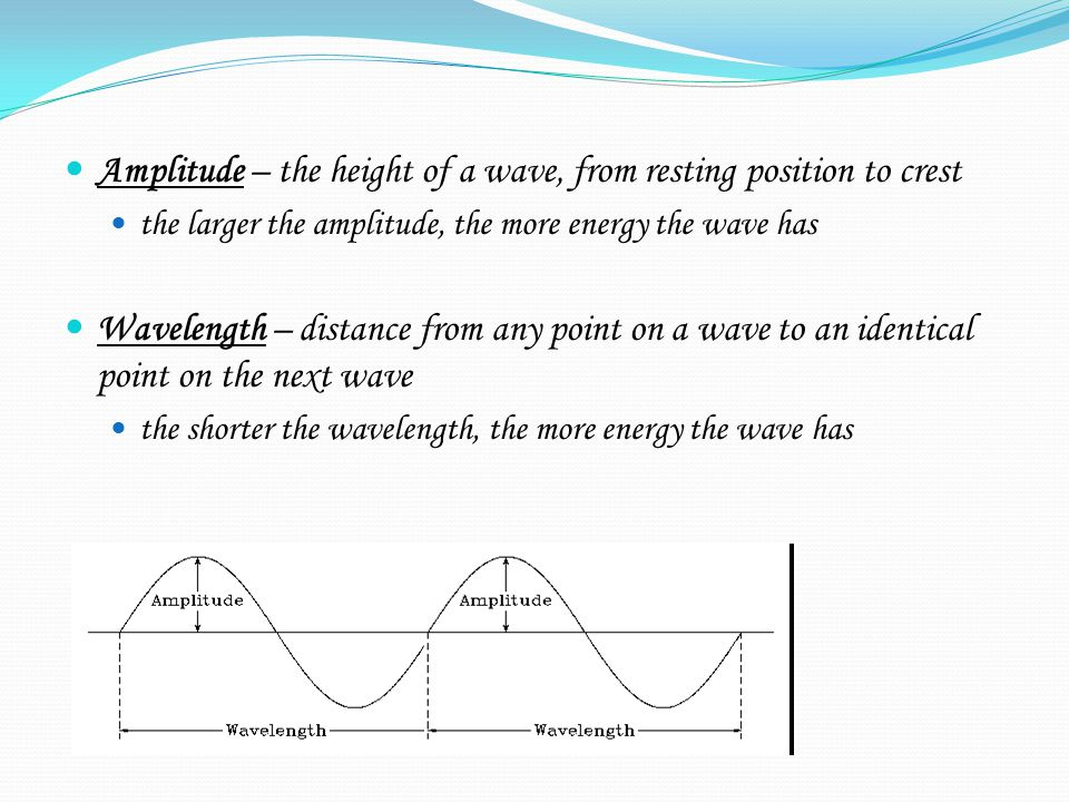 Amplitude – the height of a wave, from resting position to crest the larger the amplitude, the more energy the wave has Wavelength – distance from any point on a wave to an identical point on the next wave the shorter the wavelength, the more energy the wave has