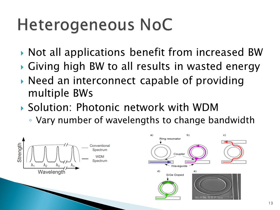  Not all applications benefit from increased BW  Giving high BW to all results in wasted energy  Need an interconnect capable of providing multiple BWs  Solution: Photonic network with WDM ◦ Vary number of wavelengths to change bandwidth 13