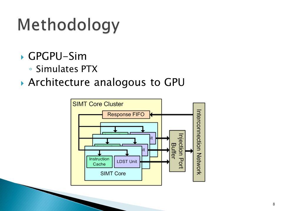  GPGPU-Sim ◦ Simulates PTX  Architecture analogous to GPU 8