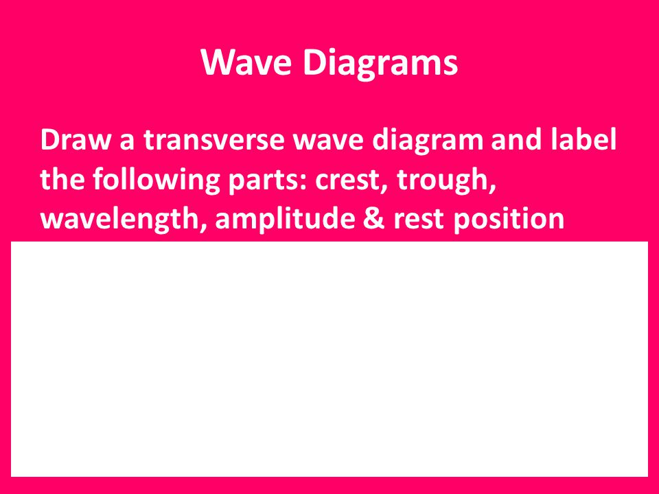 Wave Diagrams Draw a transverse wave diagram and label the following parts: crest, trough, wavelength, amplitude & rest position