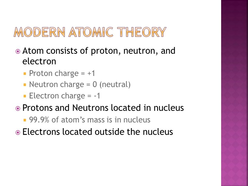  Atom consists of proton, neutron, and electron  Proton charge = +1  Neutron charge = 0 (neutral)  Electron charge = -1  Protons and Neutrons located in nucleus  99.9% of atom's mass is in nucleus  Electrons located outside the nucleus